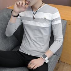 灰沙发T622-P35男士薄款长袖t恤韩版V领修身秋季打底衫潮流卫衣男