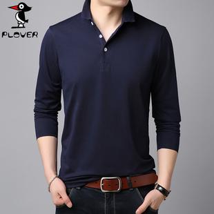 啄木鸟纯棉长袖T恤男装纯色T恤