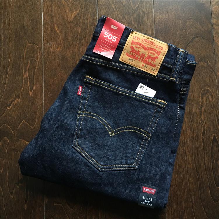 Mỹ chính hãng Levis 505-0216 Quần jean nam màu xanh đậm