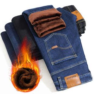 秋冬款彈力加絨加厚牛仔褲男直筒寬鬆休閒褲