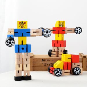 Bằng gỗ Loạt Các Robot Đồ Chơi Ba Chiều Transformers Rubik của Cube Trẻ Em Câu Đố Xe Búp Bê Tay Chơi Mô Hình