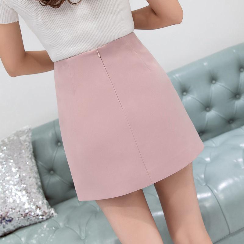 韩版高腰雪纺半身裙女夏季新款大码宽松a字短裙ol职业工装包臀裙