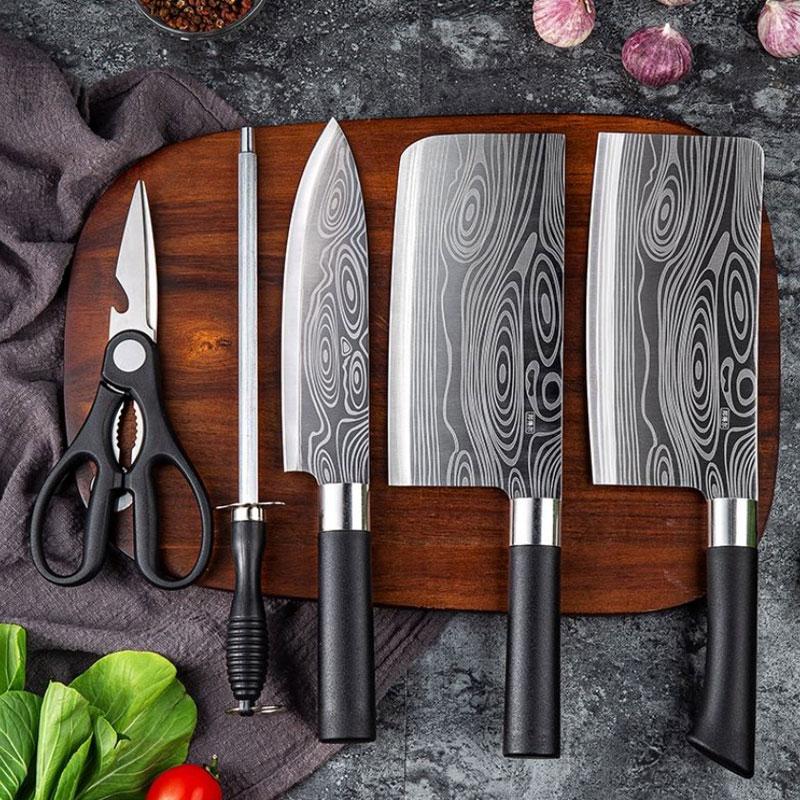 厨房菜刀全钢刀具套装家用厨房五件套切菜刀砍骨刀花纹切片刀剪刀