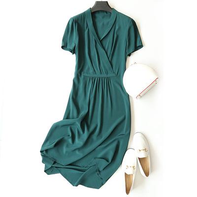 Tốt để chiên vải ~ lụa nặng ~ amoi tinh khiết lụa v cổ ngắn tay áo đầm h6-q919032 váy đầm