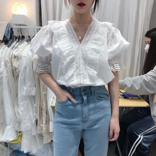 Hoa hậu Hướng Dương 2020 Xuân Hè Hàn Quốc Dongdaemun mua sắm áo sơ mi cổ chữ V ren babara 6212 - Áo sơ mi dài tay