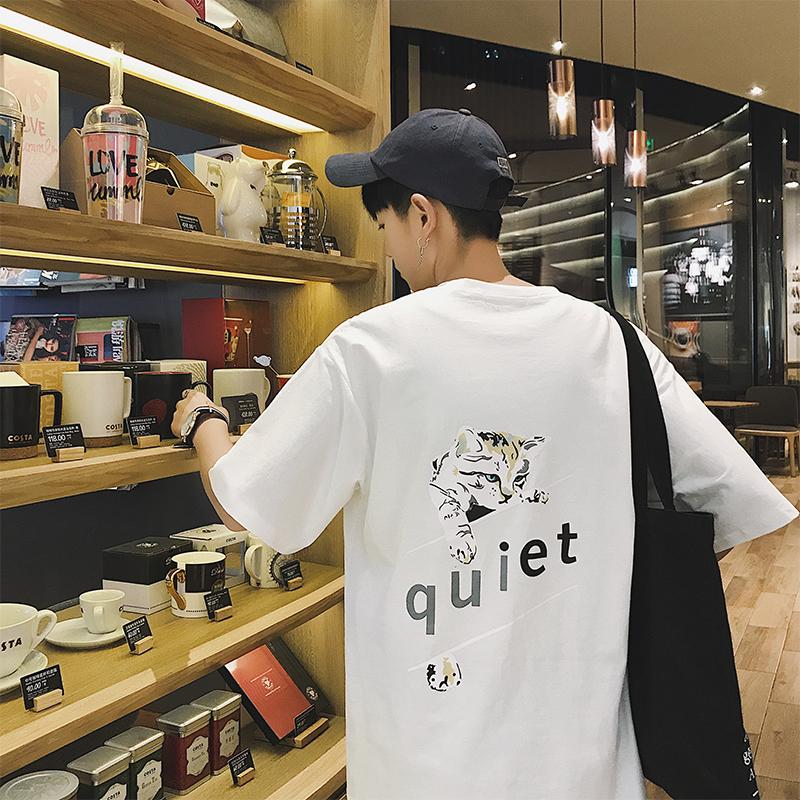 實拍3622#2018夏季新款韓版五分袖T恤港仔男裝短袖寬松t恤控價45