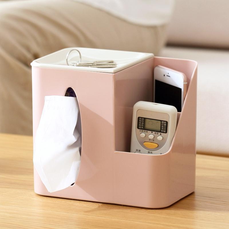 創意客廳桌面紙巾盒多功能遙控器收納盒茶幾擦手抽紙盒家用卷紙筒