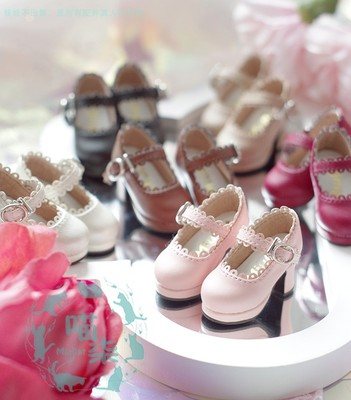 taobao agent BJD doll shoes flat feet wear lace small high-heel Mary Jane shoes 1/6 points 4 points 3 points giant baby YOSD MSD