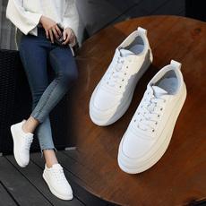suger2017春秋季新款韩版女鞋松糕厚底系带小白鞋百搭休闲潮