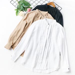 + B6 2018 mới của Hàn Quốc dài tay voan áo sơ mi lỏng tính khí áo sơ mi hoang dã chuyên nghiệp áo sơ mi nhỏ nữ triều mùa hè