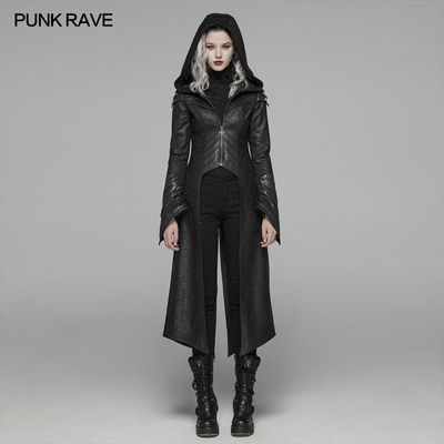 taobao agent PUNK RAVE Punk State Steampunk Women's Leather Long Jacket Distressed Cracked Dark Witch