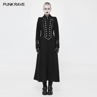 taobao agent *Punk women's clothing, military uniform, retro woolen coat, long coat, trench coat, gothic style lolita skirt, dark lolita