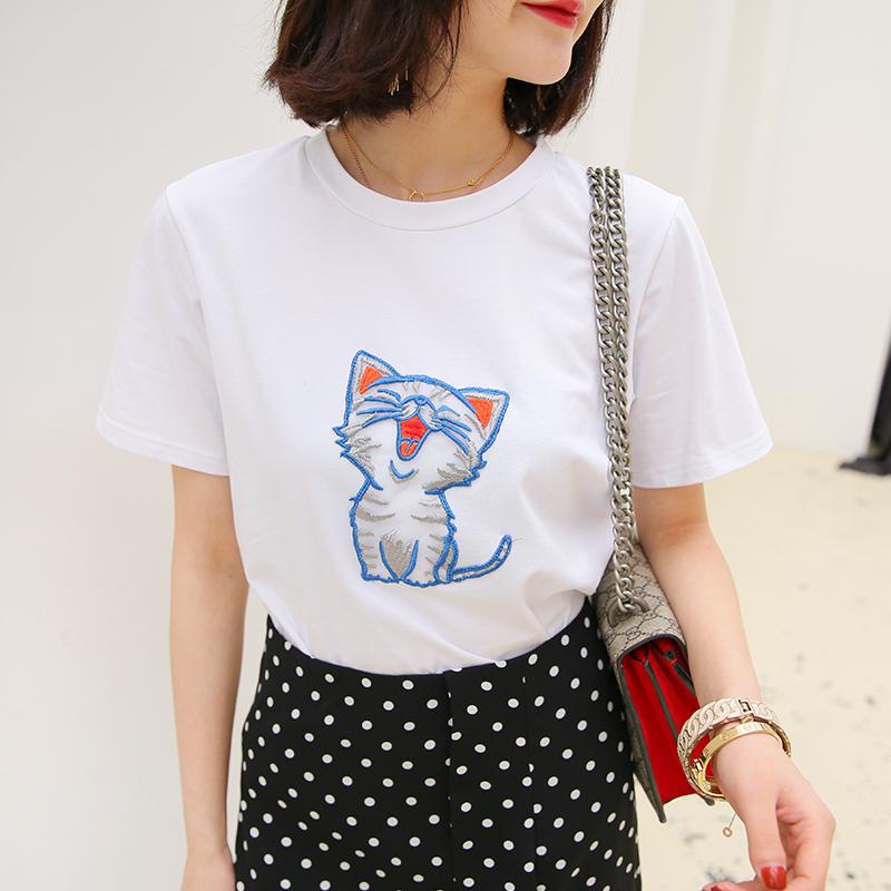 本期大爱!砖柜品质!春夏装猫咪刺绣图案白色T恤女短袖打底上衣