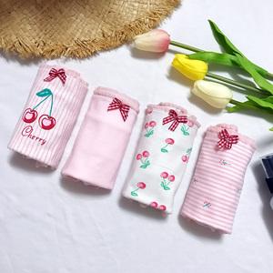 实拍实价 四件套韩版少女小清新可爱猫樱桃三角裤内裤学生