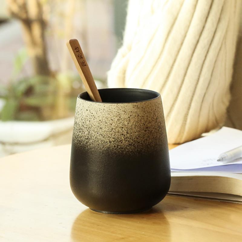 复古咖啡杯陶瓷杯子日式 景德镇创意刻字马克杯 个性情侣磨砂水杯