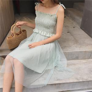 实拍9011复古韩国chic风松紧褶皱荷叶边吊带背心+半身裙女