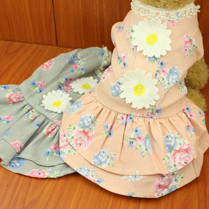 Cô gái gió nhỏ hoa cúc bông thú cưng quần áo mùa hè chó Teddy quần áo VIP hơn gấu trang phục - Quần áo & phụ kiện thú cưng