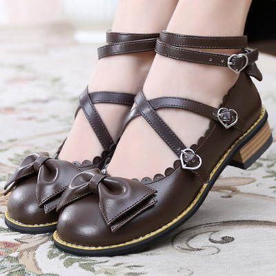 taobao agent Lolita upgrade new tea party sweet bow daily round head cross straps simple handmade small leather shoes
