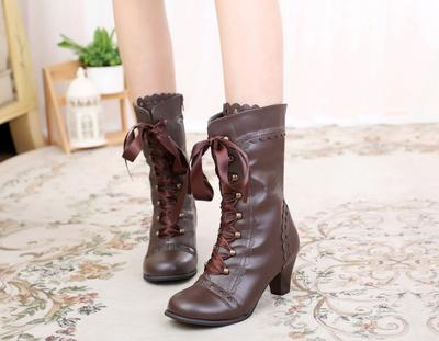 taobao agent Lolita Lolita retro poker tie ribbon round head high thick heel sweet beauty boots
