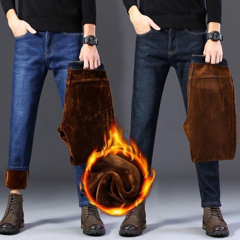 秋冬款加绒加厚牛仔裤男士帅气潮流休闲长裤中青年高腰保暖牛仔裤