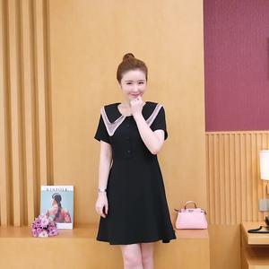 實拍大碼女裝2019甜美減齡娃娃雙層領收腰顯瘦短袖桔梗裙連衣裙