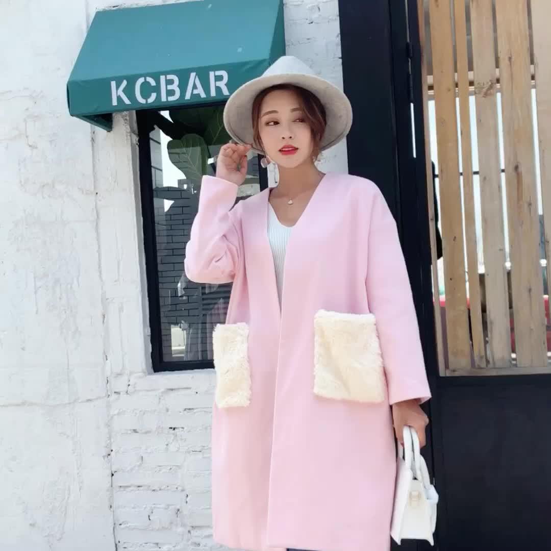 实拍现货小视频韩版毛呢呢子大衣2018秋冬款宽松大口袋双面呢外套