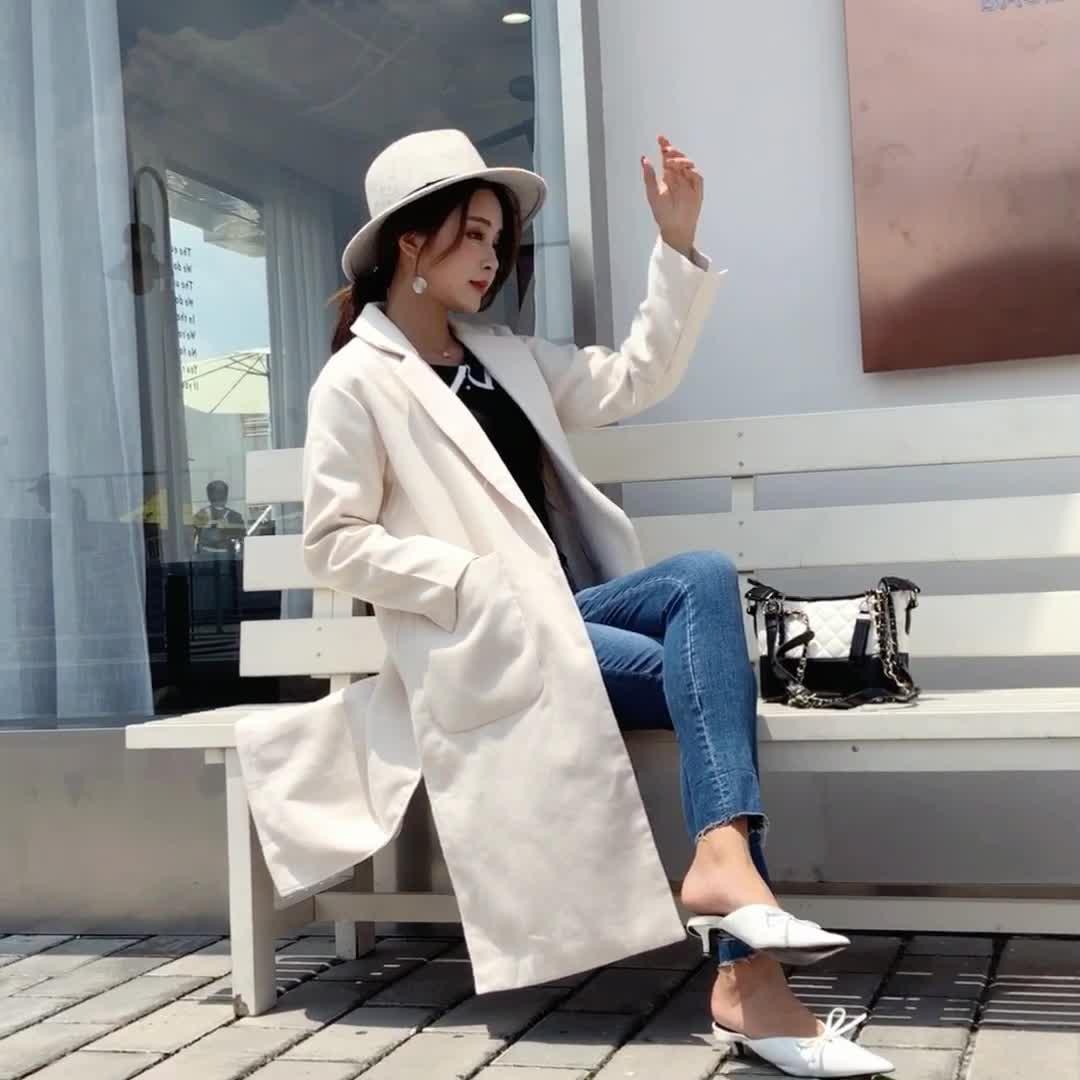视频现货2018秋冬chic呢子外套职业双面毛呢大衣中长款女装