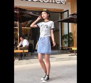 实价有视频夏季短裙韩版学生百搭高腰半身裙显瘦牛仔裙A字裙