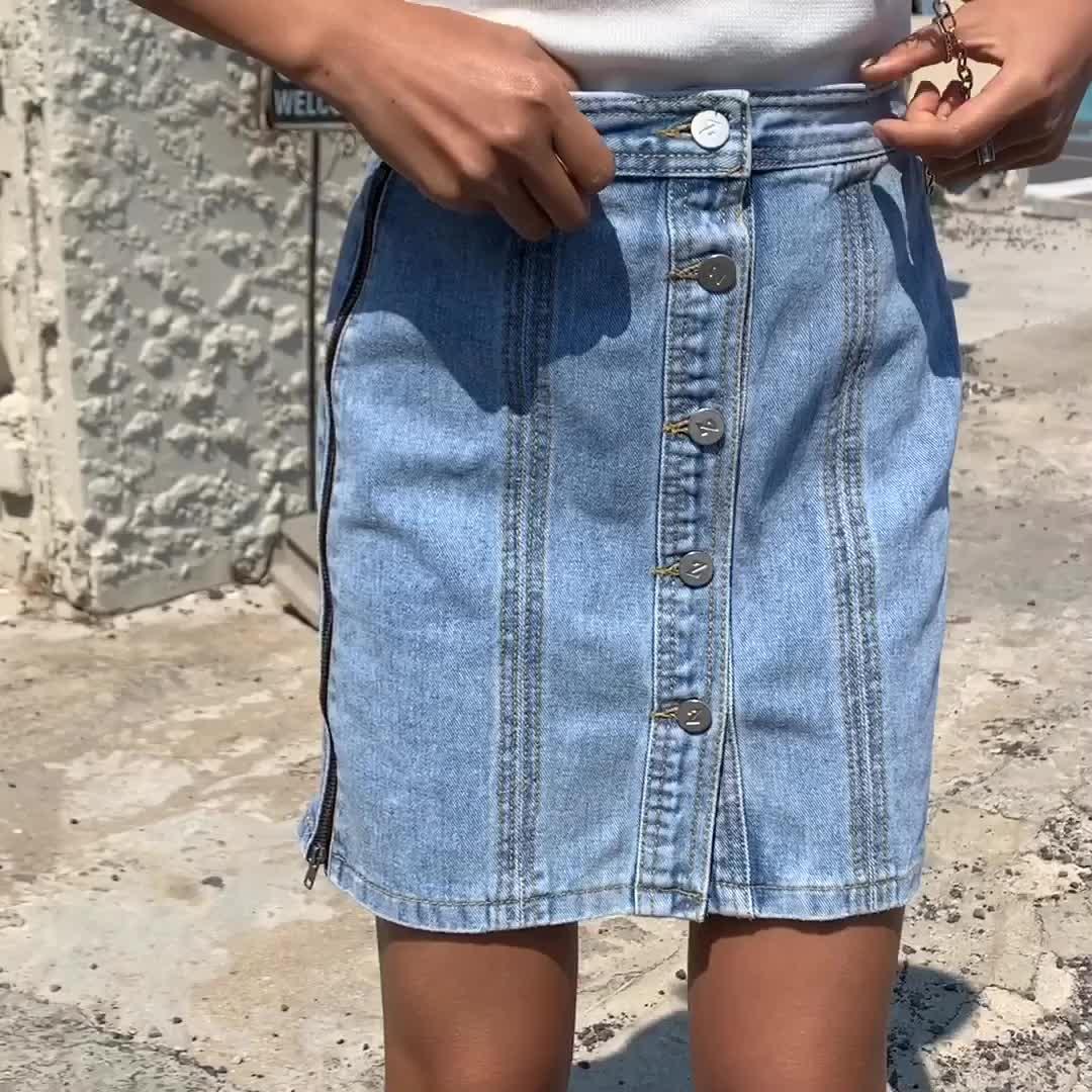 实拍2019#夏季新款单排扣牛仔半身裙韩版chic拉链高腰短裙女