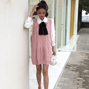小仙女抖音同款学院风白色长袖衬衫时尚气?#25910;?#32455;衫背心裙女两件套