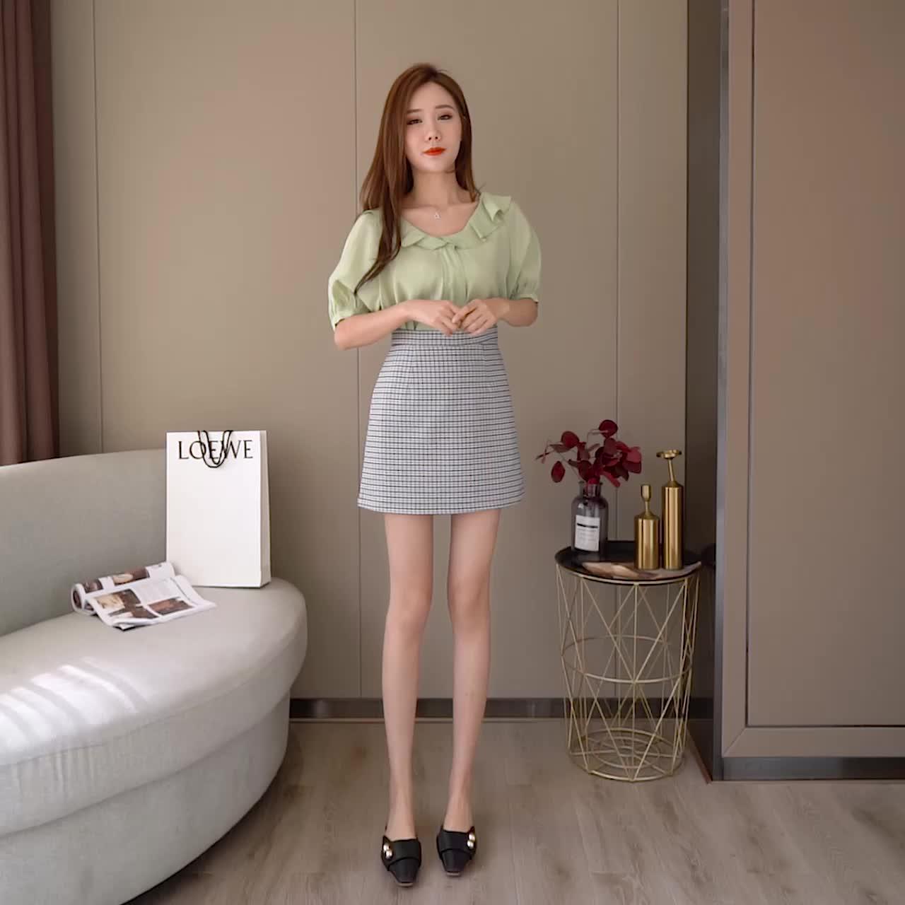 实拍2020春夏新款A字包臀裙子ins超火的半身裙高腰格子短裙女