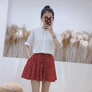 實拍有視頻2019夏裝新款波點短裙短褲裙闊腿褲沙灘裙褲