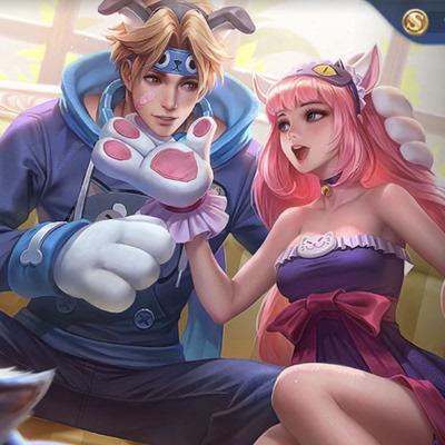 taobao agent 【Rabbit dimension】King of Glory Cat and Dog Diary Skin Da Qiao Sun Ce Cos Wig Couple Wig
