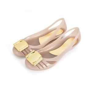 2018 mùa hè mới màu nhựa trong suốt dép kẹo màu nhựa tinh thể La Mã thạch màu phẳng giày của phụ nữ