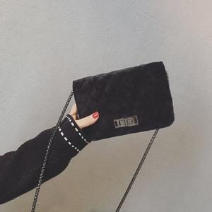 小香风包包女2017新款潮韩版百搭单肩斜挎包小方包丝绒菱格链条包