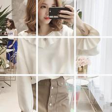 5631秋装新款韩版学院风喇叭袖白色套头毛衣女chic长袖针织衫上衣