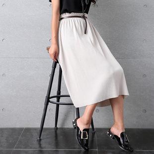 胖MM夏装新款百搭显瘦百褶裙半身裙