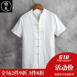 中国风唐装男士短袖亚麻衬衫夏季男装宽松棉麻上衣中式休闲衬衣