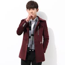 6287秋冬男装新款男士中长款风衣韩版修身毛呢大衣英伦青年外套潮