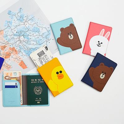 Nhật bản và Hàn Quốc mô hình vụ nổ dòng Brown phim hoạt hình màu da thời trang hộ chiếu thẻ gói coin purse tài liệu bảo vệ bìa