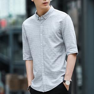 五分袖衬衫男韩版双色效果中袖青年休闲格子七分袖亚麻中袖寸衫