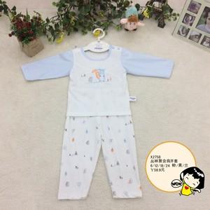 夏款婴儿长袖套头纯棉薄款内衣套装宝宝夏季空调服