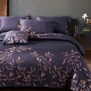 Bông 60 dài- staple bông thêu hoa bộ bốn bông giường bông Ai Cập lớn màu đỏ đám cưới bốn mảnh