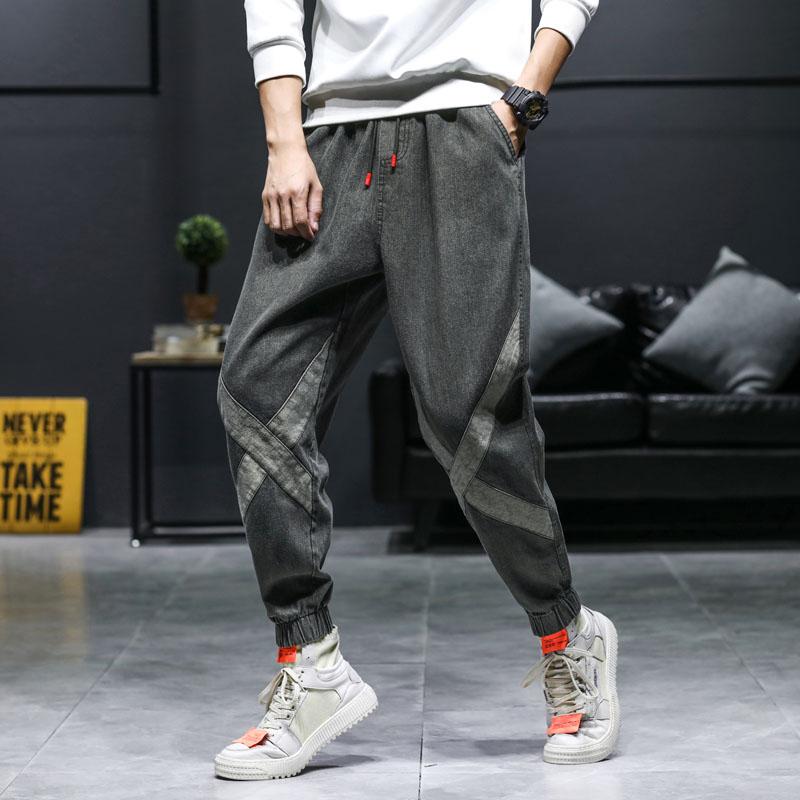 潮牌束脚牛仔裤男宽松阔腿哈伦长裤工装裤