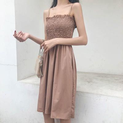 Mùa hè mới hong kong hương vị tính khí bọc ngực khai thác chăm sóc nếp nhăn trong đoạn dài màu eo rắn là đầm mỏng nữ Sản phẩm HOT