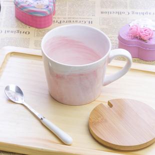 北欧定制少女心马克杯带盖勺