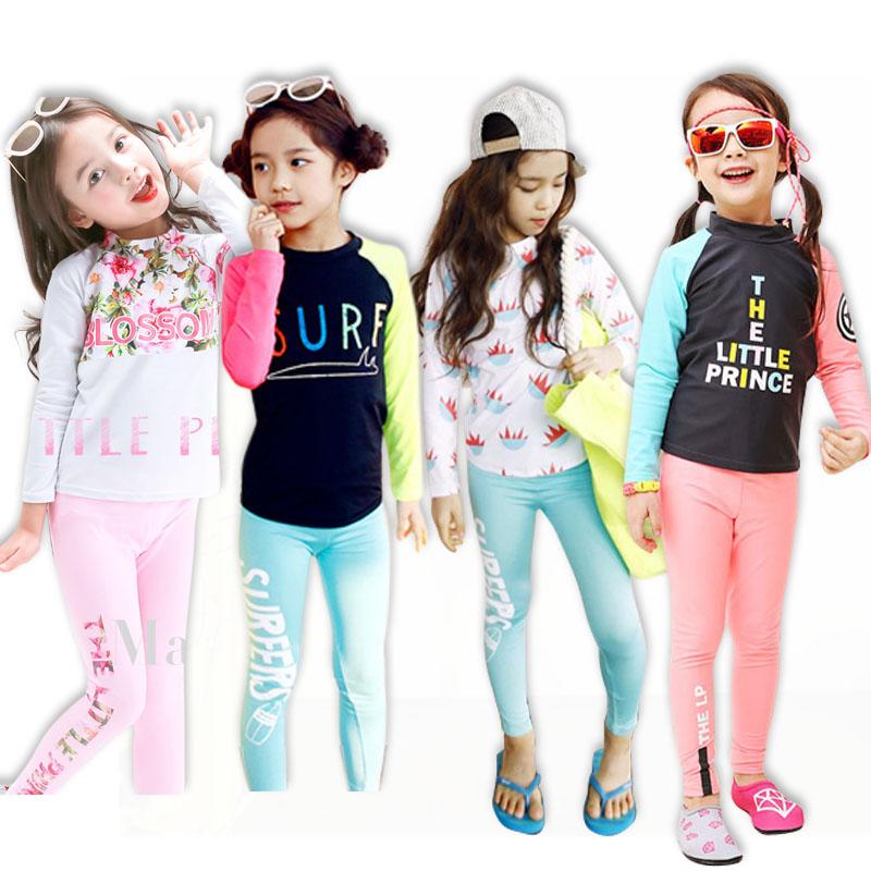 Trẻ em dài tay chia áo tắm cô gái thiết lập nhanh chóng làm khô mặt trời lặn phù hợp với quần áo lướt nhỏ trẻ em lớn trẻ em quần