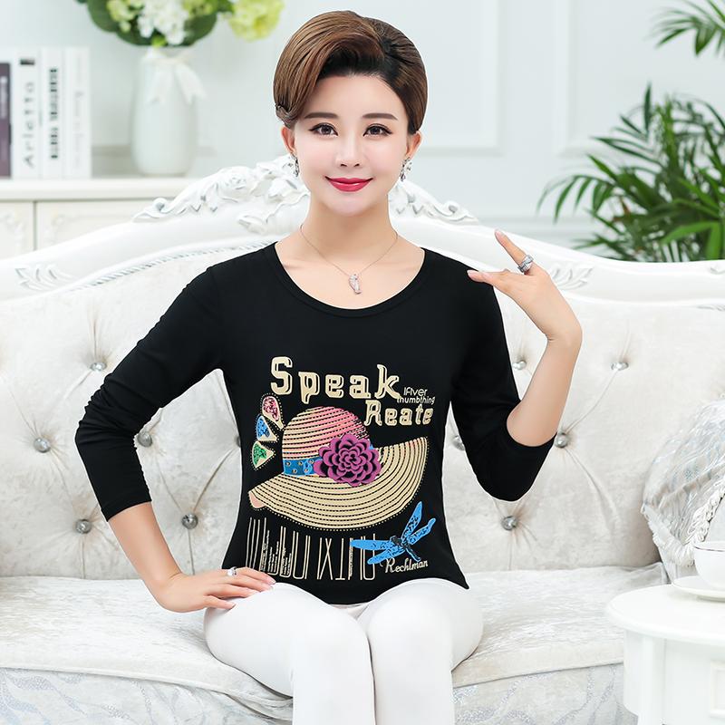 Phương thức ngắn tay t-shirt nữ mùa hè ăn mặc nửa tay áo sơ mi trung niên mẹ kích thước lớn áo sơ mi nữ t-shirt đáy áo sơ mi