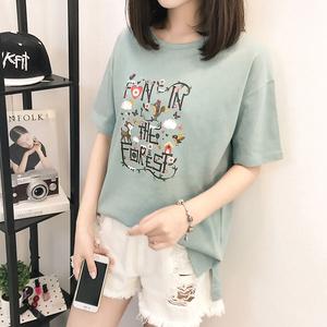 1885#实拍短袖t恤女韩版衣服夏装2017新款打底体恤衫短袖上衣女