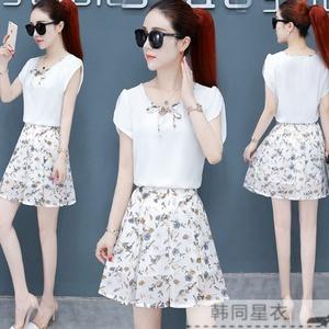 19时尚小个子套装连衣裙女夏天时髦女人高腰雪纺短裙子两件套